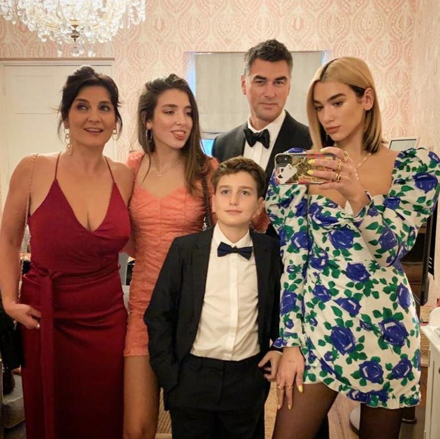 Dua Lipa with her family