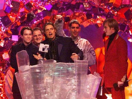 Accepting an award at the MTV Europe Music Awards