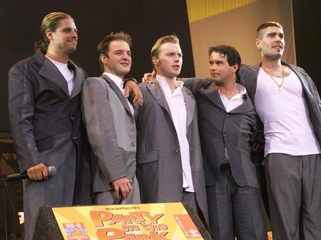 Boyzone performing at Hyde Park in July 1999.