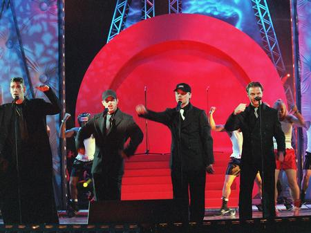 The Band BoyZone performing at the Brits in Februa