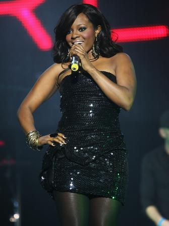 Keisha from the Sugababes live at the Jingle Bell