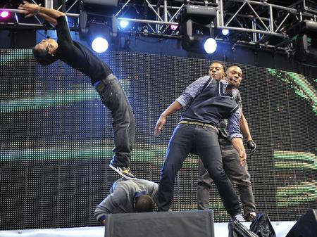 JLS on stage at the Summertime Ball