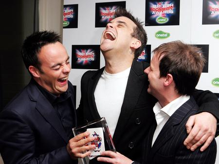 Robbie having a laugh with Ant and Dec