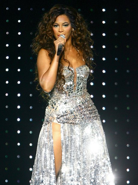 Beyonce in a silver dress