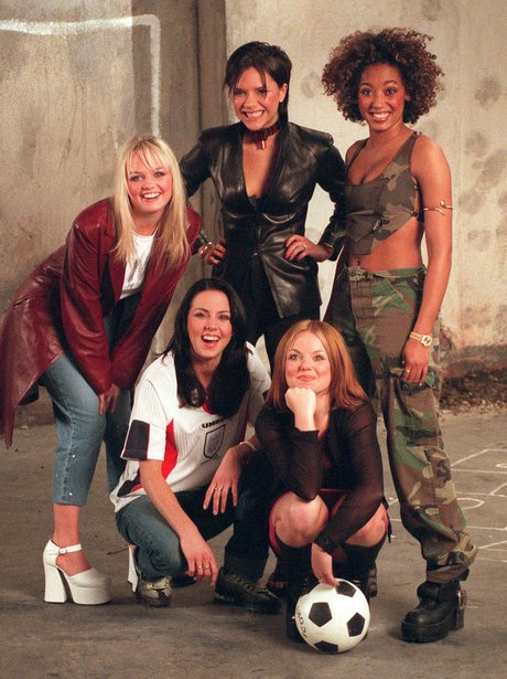 The Spice Girls press shot with football