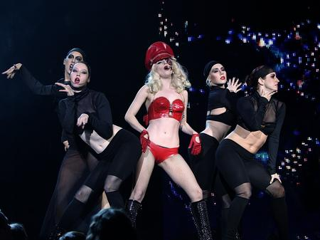 Lady Gaga on stage at the Jingle Bell Ball