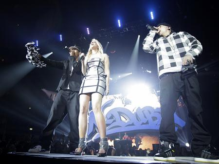 N-Dubz on stage at the Jingle Bell Ball
