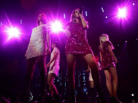The Saturdays on stage at the Jingle Bell Ball