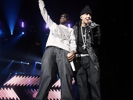 Tinchy Stryder on stage at the Jingle Bell Ball