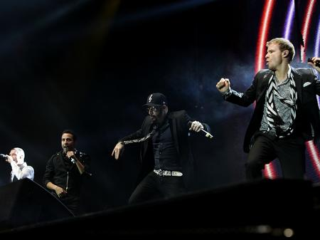 Backstreet Boys on stage at the Jingle Bell Ball