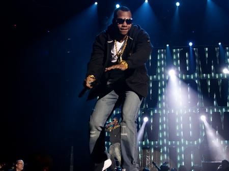 Flo Rida on stage at the Jingle Bell Ball