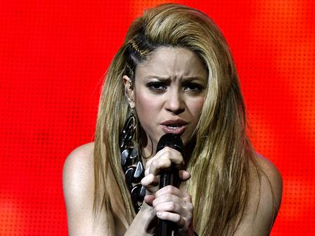 Shakira on stage at the Jingle Bell Ball