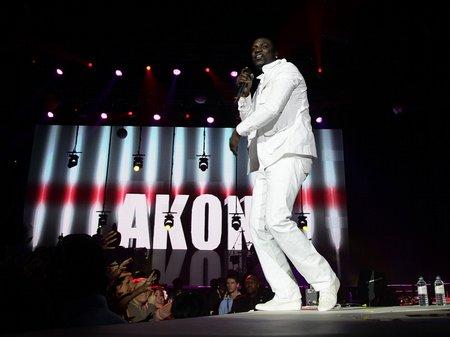 Akon performing at the Jingle Bell Ball