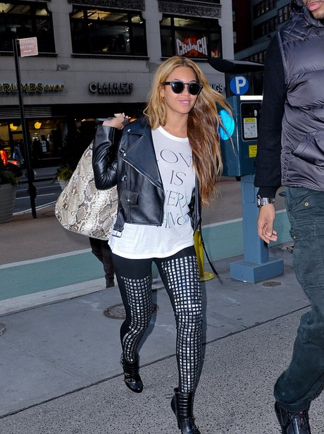 Beyonce wearing studded trousers while out and about shopping in London