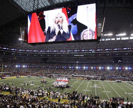 Christina Aguilera performs at The Super Bowl XLV