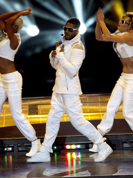 Usher performs at Super Bowl XLV football game