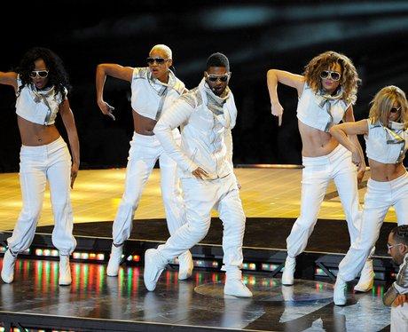Usher performs at Super Bowl XLV football game