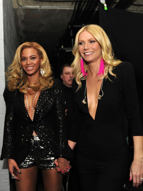 Beyonce and Gwyneth Paltrow backstage at the Gramm