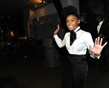 Janelle Monae backstage at the 53rd Annual Grammy