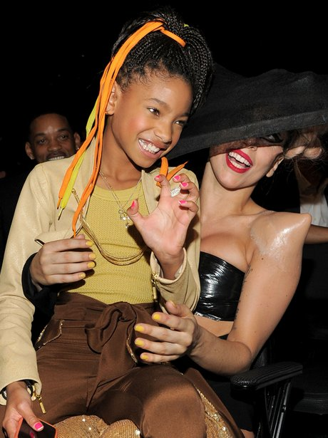 Lady Gaga with Willow Smith at the Grammy Awards