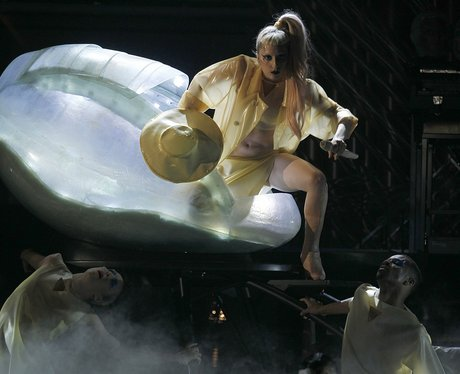 Lady Gaga at the 2011 Grammys in a giant egg