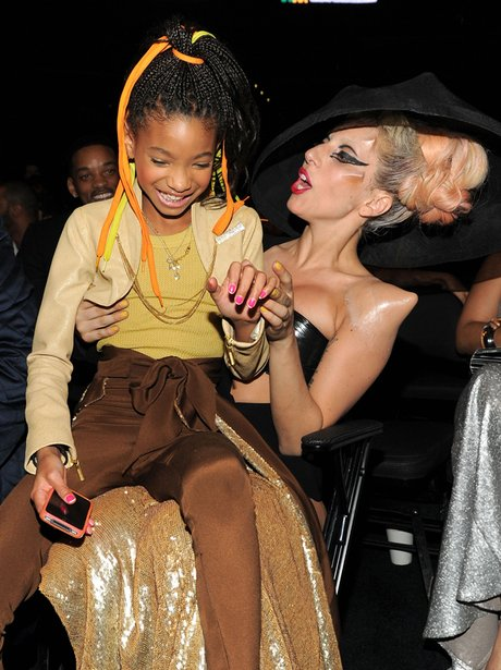 Lady Gaga and willow smith at the Grammys