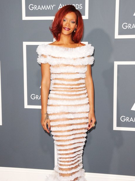 rihanna arrives at the Grammy Awards