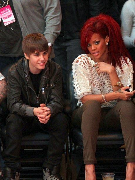Justin Bieber and Rihanna at The NBA All-Star Game