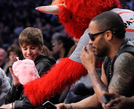 justin beiber at the The NBA All-Star Game