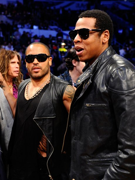 Leeny Kravitz and Jay-Z at The NBA All-Star Game