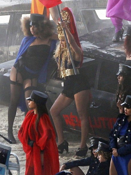 Beyonce Knowles films her newest video