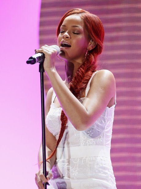 Rihanna with long red hair