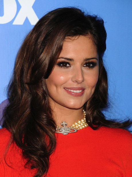 Cheryl Cole in orange dress