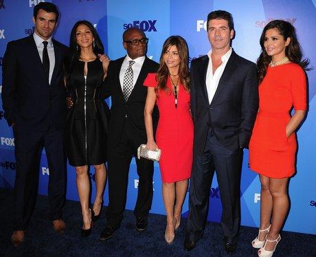 Cheryl Cole, Simon Cowell, Nicole Scherzinger, Paula Abdul, Steve Jones and LA Reid at a party in America