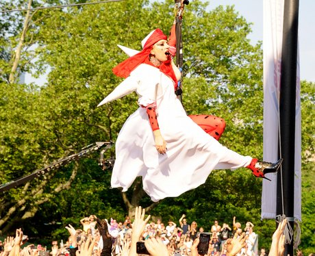 Lady Gaga Zip wires into Central Park in New York