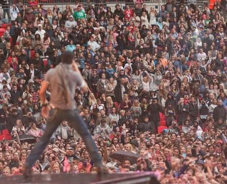 Enrique Iglesias looks out over a filled to capacity Wembley Stadium during the 2011 Summertime Ball