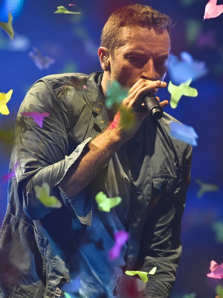 Coldplay performing at Glastonbury 2011
