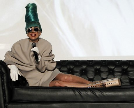 Lady Gaga with green hair in Singapore