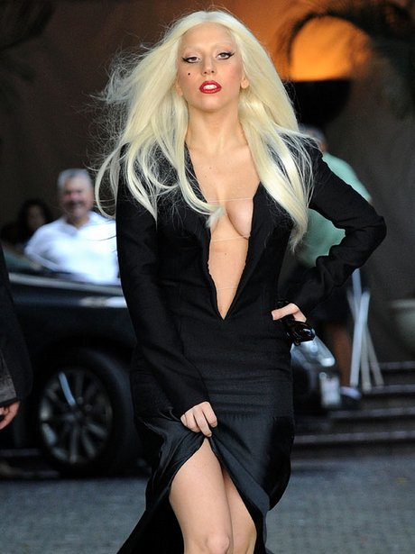 Lady Gaga leaving her hotel