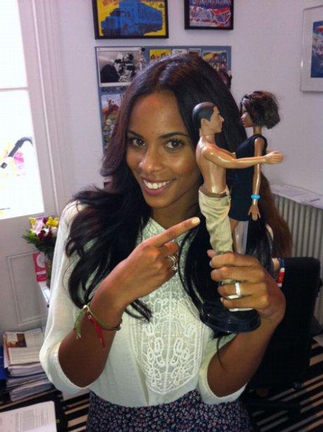 Rochelle Wiseman poses with her boyfriend Marvin's JLS Doll