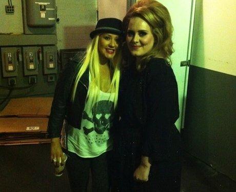 Christina Aguilera and Adele on Twitter