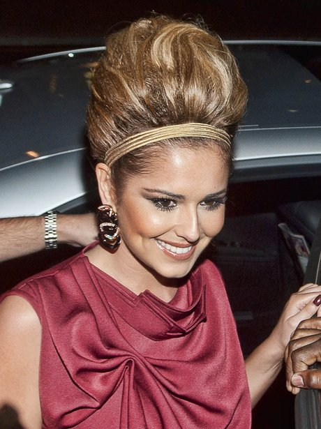 Cheryl Cole with new blonde hair at London Fashion Week