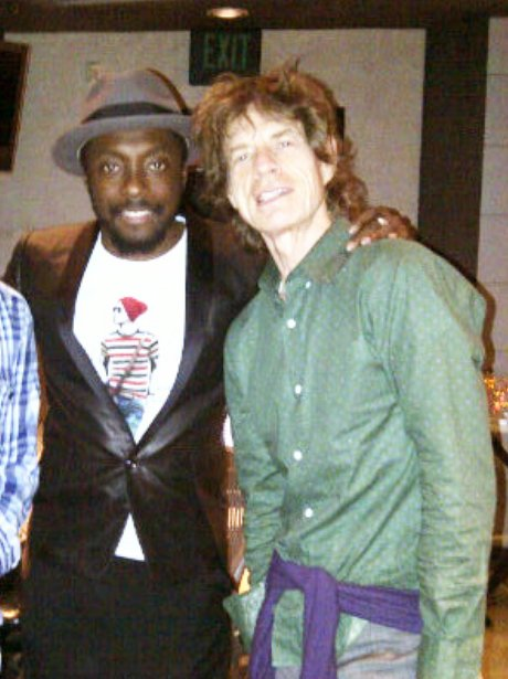 Will.i.am and Mick Jagger in the recording studio