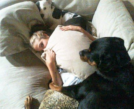 Tulisa Contostavlos with her pet dog