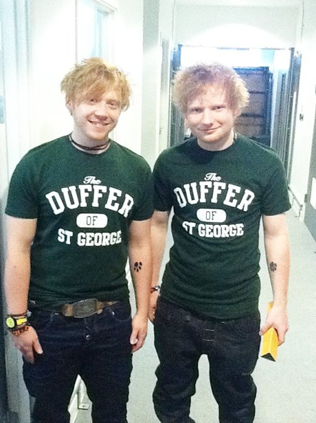 Ed Sheeran and Rupert Grint hanging out together