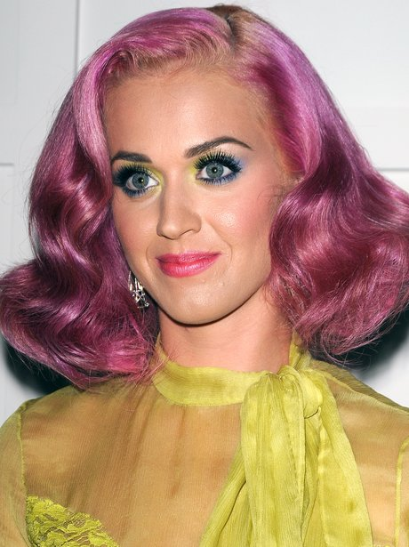 Katy Perry with bright pink hair