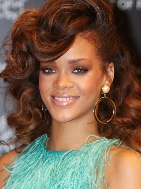 Rihanna with auburn hair