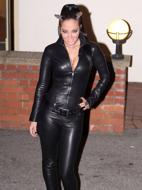 Tulisa Contostavlos in leather catsuit