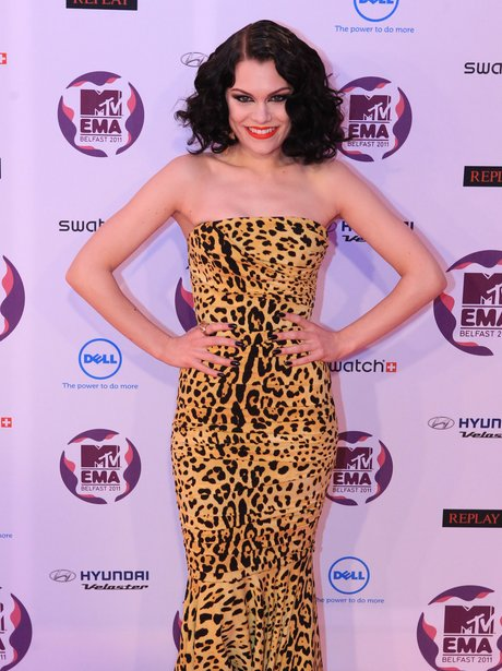 Jessie J at the MTV EMA's nominations in a leopard print dress