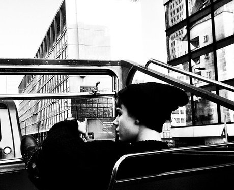 Justin Bieber on a bus